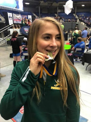 Kailey Brookshire won a state powerlifting championship and Outstanding Lifter honors Thursday at the Division IV state meet.