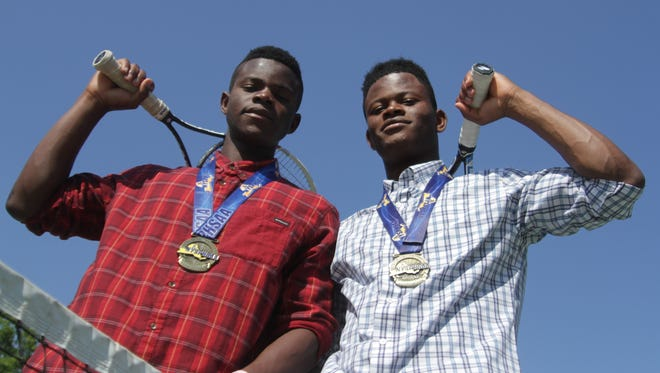 The 2016 Journal News/lohud.com Westchester/Putnam boys tennis players of the year, Mamaroneck doubles duo Hope (right) and Courage (left) Crawford, pictured here at the Flint Park Tennis Courts in Larchmont.