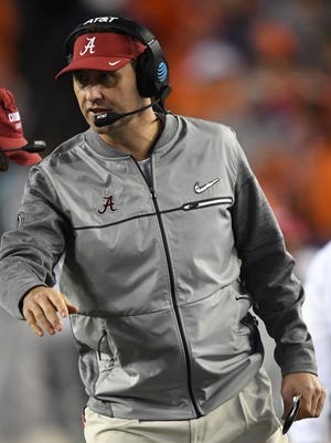 Alabama Crimson Tide offensive coordinator Steve Sarkisian reacts during the third quarter against the Clemson Tigers in the 2017 College Football Playoff National Championship.