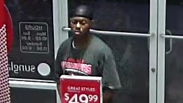 One of two suspects in the theft of $4,000 in sunglasses at a Miromar Outlets store in January.