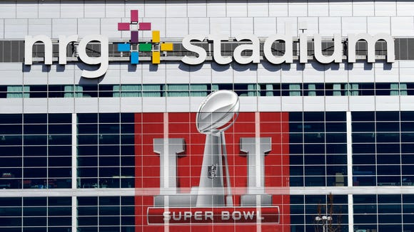 NRG Stadium, which will host Super Bowl LI, is shown Tuesday, Jan. 24, 2017, in Houston. The New England Patriots will play the Atlanta Falcons in NFL football's Super Bowl LI on Sunday, Feb. 5, 2017, at NRG Stadium. (AP Photo/David J. Phillip) ORG XMIT: TXDP106