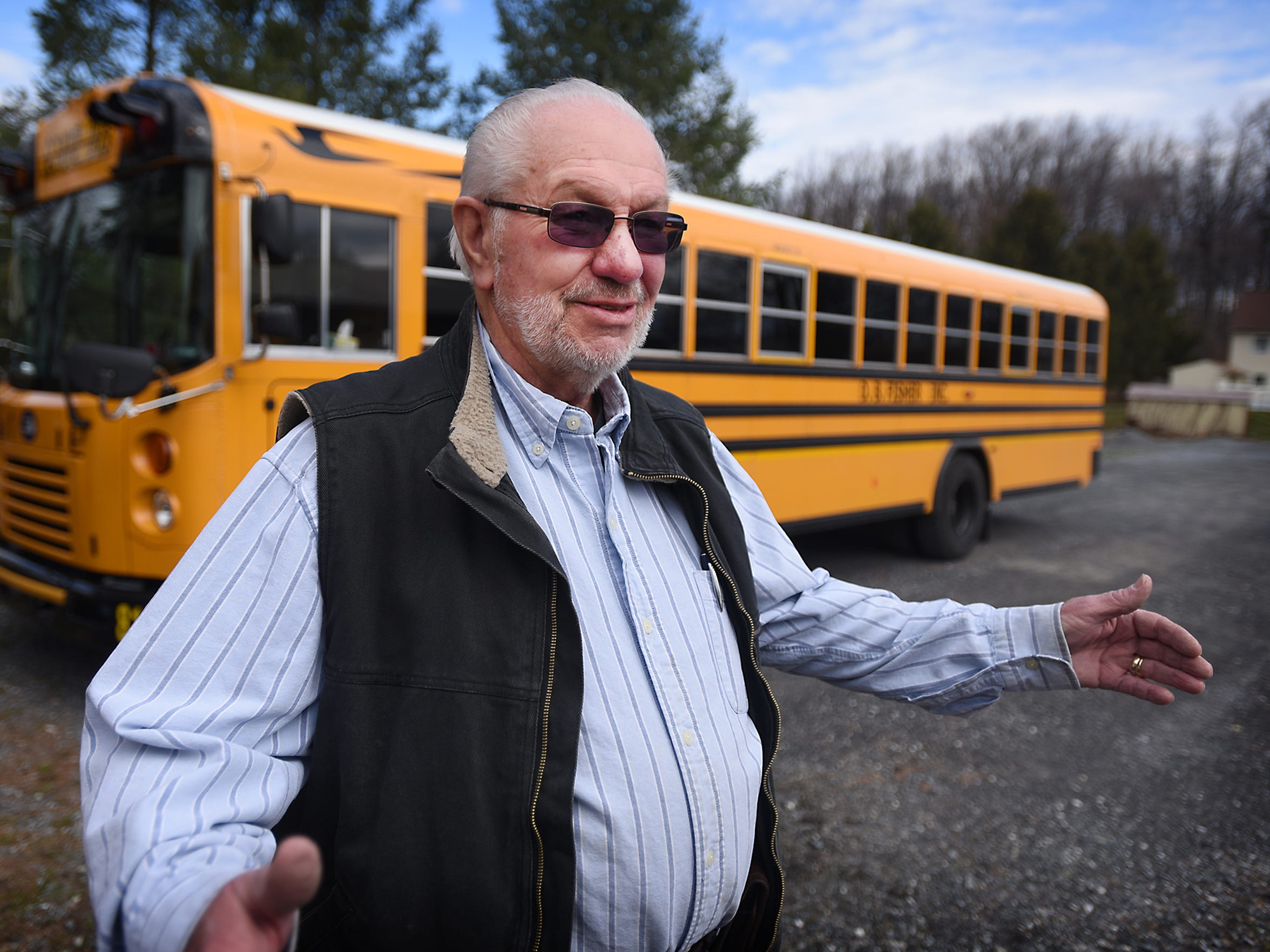Barry Fisher, president of the school bus division for D.B. Fisher bus company, talks on March 30 about operating school student transportation for Annville-Cleona, Northern Lebanon, and Lebanon school districts.
