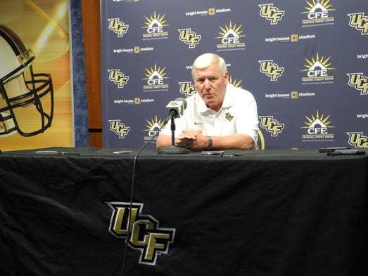 Central Florida head coach George O'Leary addresses the media during UCF's media day.