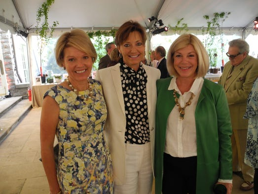 Howe Wild co-chair Anne Nesbitt, left, President and CEO of Cheekwood Jane MacLeod, and Howe Wild co-chair Elizabeth Williams at Howe Wild, a fundraiser for the Howe Garden at Cheekwood by The Garden Club of Nashville, held on the Swan Lawn at the mansion at Cheekwood.