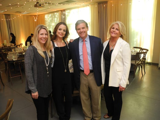 Tracie Hamilton, left, event host Kimberly Williams-Paisley and Scott and Meg Turner at Second Harvest's Generous Helpings Patron Party, held at Second Harvest's Culinary Arts Center.