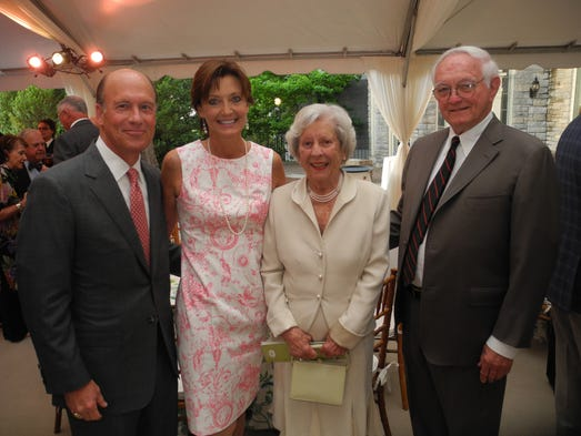 Don and Jane Macleod, left, and Jane and Guildford Dudley Award for Excellence in Philanthropy recipients Betty and Jim Perkins at the 2014 Cheekwood Society Celebration, honoring Cheekwood's most generous supporters, held at Cheekwood Mansion.