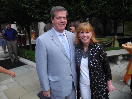 """Write The Next Chapter co-chair Mayor Karl Dean and Nashville Public Library Foundation Board Chairman Katy Varney at the Nashville Public Library Foundation """"Write The Next Chapter"""" campaign kickoff event, held in the courtyard at the Downtown Library."""