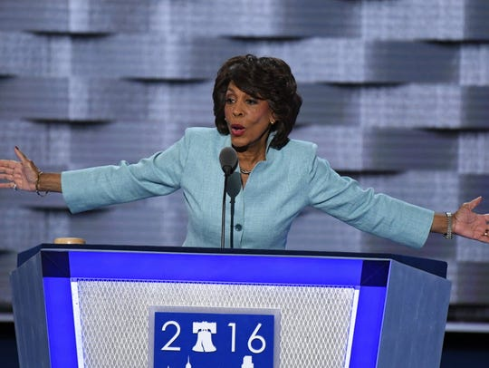 Rep. Maxine Waters, D-Calif., addresses the Democratic