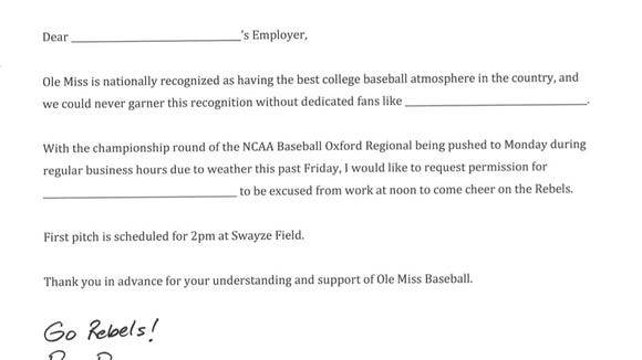 The letter distributed by Ole Miss athletics director Ross Bjork encouraging employers to allow their employees to attend Monday's regional championship.