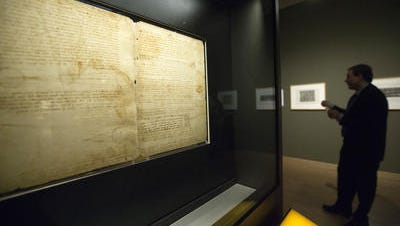 One of Leonardo da Vinci's notebook pages on display at the Phoenix Art Museum.