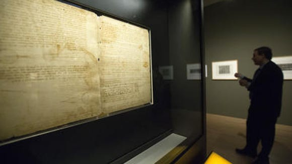 One of Leonardo da Vinci's notebook pages on display