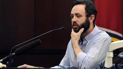 Todd Easter testifies during a June 15, 2015 hearing when defense attorneys for former Vanderbilt football players Brandon Vandenburg,22, and Cory Batey, 21, argue that Easter did not disclose during jury selection he was a victim in a statutory rape case in Sumner County, Tenn. in 2000. Criminal Court Judge Monte Watkins declared a mistrial because of the juror on Tuesday, June 23, 2015.