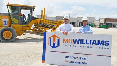 MH Williams Construction Group began in 1987 by founder and president Mike Williams Sr. (left). At right is hi son Mike, Jr., a partner and vice president. Among the many projects that they are currently working on is the Viera Colonnade Shops, seen here.