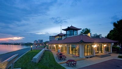 The Convention & Visitors Bureau office, in the Pagoda on Evansville's riverfront.