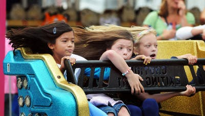 From left, Abby Muriel of Wappinger, Marissa Triglia of Pleasant Valley and Jordan Sajdak of the City of Poughkeepsie, all 7, ride the Sizzler at the Dutchess County Fair Tuesday, August, 24, 2010, in Rhinebeck.