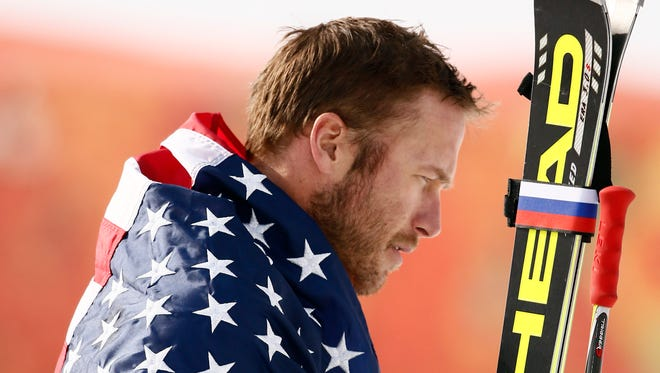 Bode Miller (USA) celebrates winning bronze.
