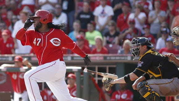 Johnny Cueto drove in the game-winning run for his 20th win in 2014.