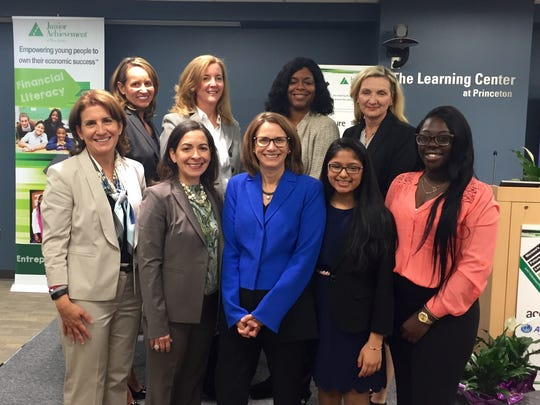Junior Achievement of NJ recently held its annual Central Regional Women's Future Leadership Forum at Tyco's USA headquarters in Princeton. Pictured from left to right, back row: Catherine Milone, President, Junior Achievement of New Jersey; Mary Riggs, vice president, Finance Service Delivery, Johnson & Johnson; Debbie Dyson, vice president, Client Experience & Continuous Improvement, ADP; Kimberly Burnett, executive vice president and chief human resources officer, Selective Insurance. Left to right, front row: Patrizia Pescatore, global talent acquisition lead, Accenture; Marisol Mendez Peron, associate vice president, North America Communication, Sanofi Pasteur; Judy Reinsdorf, executive vice president and general counsel, Tyco; Shreya Pugalia, Franklin High School, Franklin Township, and Kendra Vilus, Trenton Central High School West, Trenton.