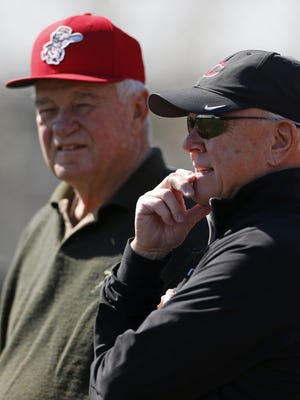Cincinnati Reds general manager Walt Jocketty, right, and President and CEO Bob Castellini
