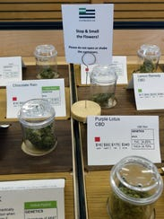 Containers of marijuana sit in April 2017 in a display