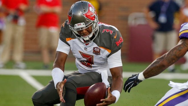 Even handling the snap was a struggle for Buccaneers QB Jameis Winston during his NFL debut.