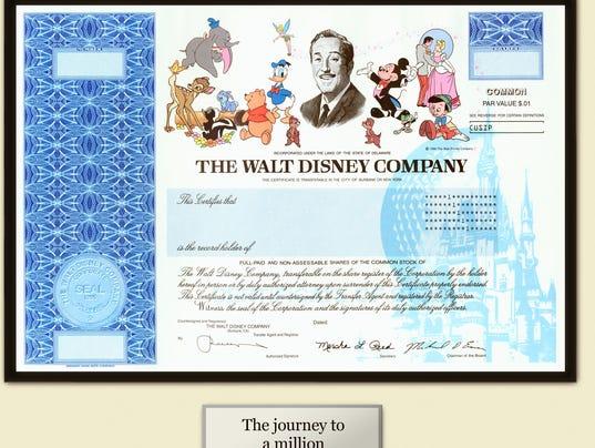 walt disney co. stock certificate