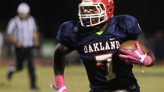 Oakland junior JaCoby Stevens (7) is the top-rated athlete for the Class of 2017.
