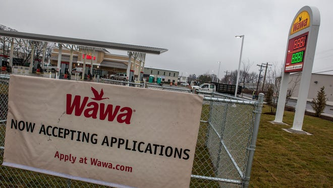 Wawa opened in April 2014 at Basin Road and Commons Boulevard, near New Castle.