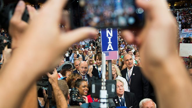 Pennsylvania Gov. Tom Wolf casts the Pennsylvania votes at the Democratic National Convention in the Wells Fargo Center in Philadelphia on Tuesday, July 26, 2016 as Hillary Clinton was nominated for president of the United States of America.