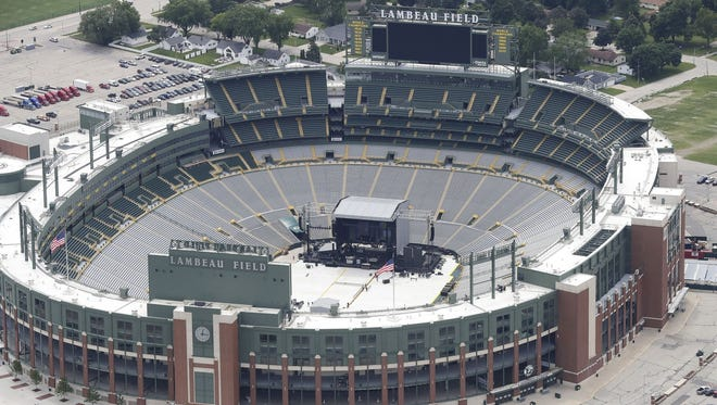 The stage for Billy Joel's concert fills the south end of the Lambeau Field bowl Friday in preparation for Saturday's show.