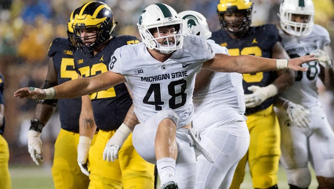 MSU?s Kenny Willekes registered a career-high nine tackles, four of them solo, to go with his two sacks against Michigan on Saturday.  Nick King/Lansing State Journal Michigan State's Kenny Willekes celebrates a tackle for a loss during the third quarter on Saturday, Oct. 7, 2017, at Michigan Stadium in Ann Arbor.