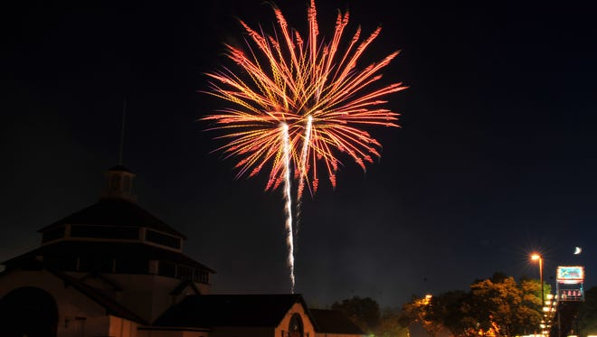 Fireworks explode above Marathon Park on July 4, 2011.