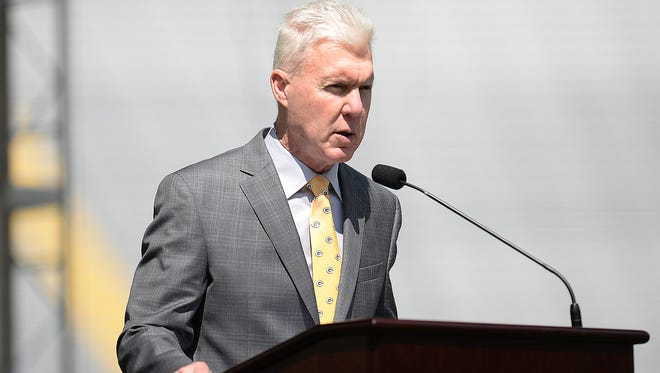 Green Bay Packers general manager Ted Thompson talks about football operations during the annual shareholders meeting at Lambeau Field July 28, 2015.
