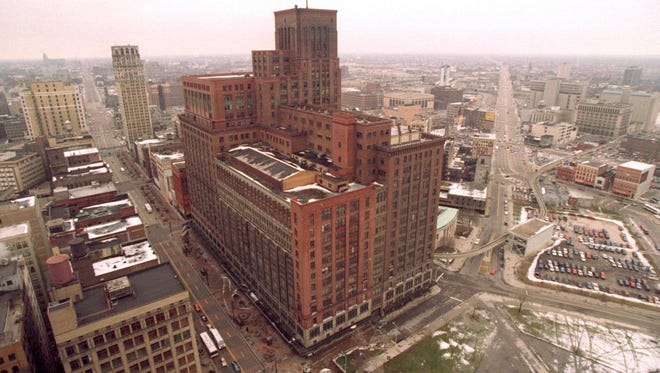 The Hudson's department store in downtown Detroit in February 1997, when the store was long-closed and about 20 months before its implosion.
