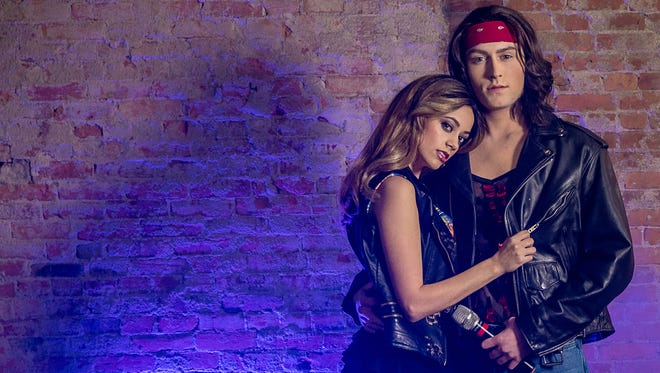 "Alex Oeschel (at left) and Austin Marchino star in the musical ""Rock of Ages,"" featuring classic '80s rock songs, Feb. 2-17, 2018, at Muncie Civic Theatre."