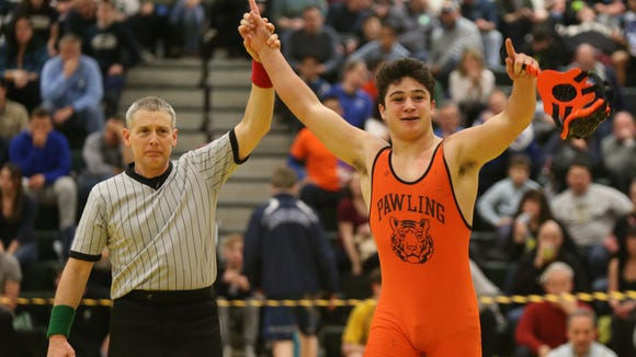 Pawling's Carmine Pedoto defeats Putnam Valley/Haldane's Dean Appell in the 160-pound match at the Section 1, Division 2 Wrestling finals at Hasting High School in Hastings on Hudson on Saturday, February 10, 2018.