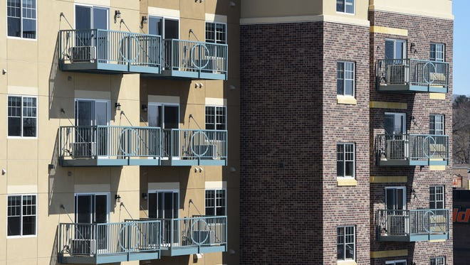 The new Mississippi Lofts apartments are pictured Thursday, March 29, in Sauk Rapids. The complex opens Friday. About 40 of the 57 apartments have been rented already.