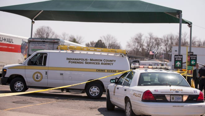 The scene of an IMPD investigation into human remains that were found inside a UHaul van at the corner of Hanna and S. East Street, which was reported at 1:30 pm., Indianapolis, Wednesday, April 11, 2018.