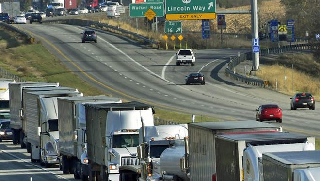 Traffic is backed up on Interstate 81 near Exit 16 in this file photo from November 2015 following a traffic accident.