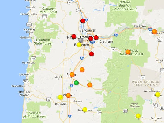 Observations as of 6 a.m. Thursday. (Red = Unhealthy