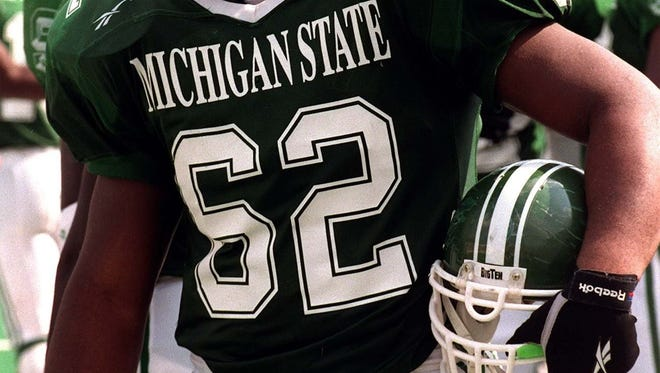 MSU defensive lineman Robert Newkirk, 62, during the Spartan home opener 8/31/96.
