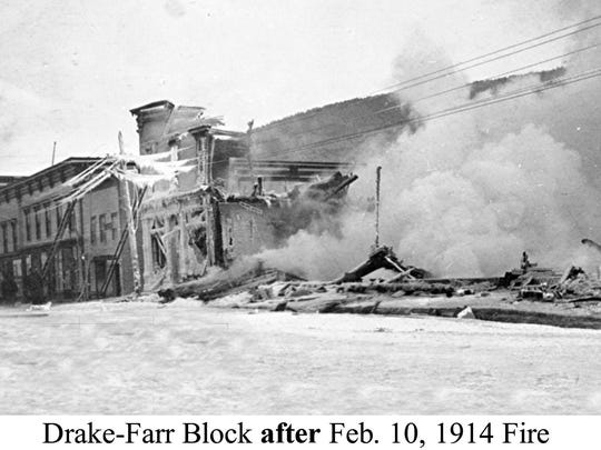 Drake-Farr Block after the 1914 fire in Bristol.