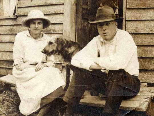 Siblings Mildred and Ashby Painter (and what is presumed to be the family dog).