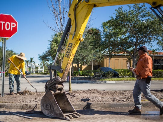 Employees of O'Donnell Landscapes will plant a variety of trees at the Publix-anchored shopping center at U.S. 41 North and Vanderbilt Beach Road in North Naples. This photo was taken Thursday, Dec. 14, 2017.