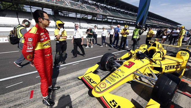 Helio Castroneves will be going for his fourth Indianapolis 500 victory Sunday at Indianapolis Motor Speedway.
