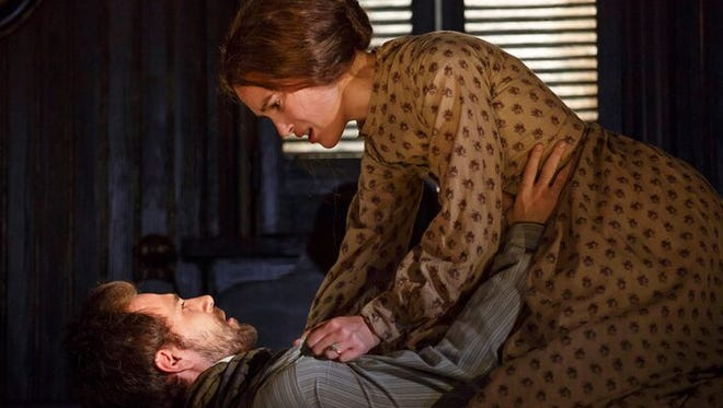 In Broadway's new 'Thérèse Raquin,' the title character, played by Keira Knightley, has an emotional encounter with her lover (Matt Ryan, left).