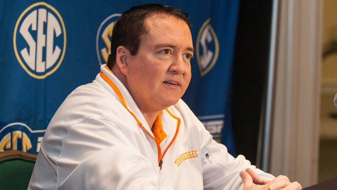 Donnie Tyndall speaks with the media during the SEC media day.
