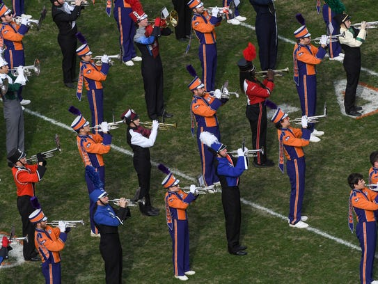 The Clemson Tiger Band plays at halftime of the Clemson