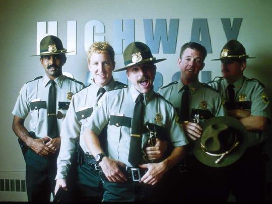 "(Left to Right) Jay Chandrasekhar, Paul Soter, Steve Lemme, Erik Stolhanske, and Kevin Heffernan in ""Super Troopers""."