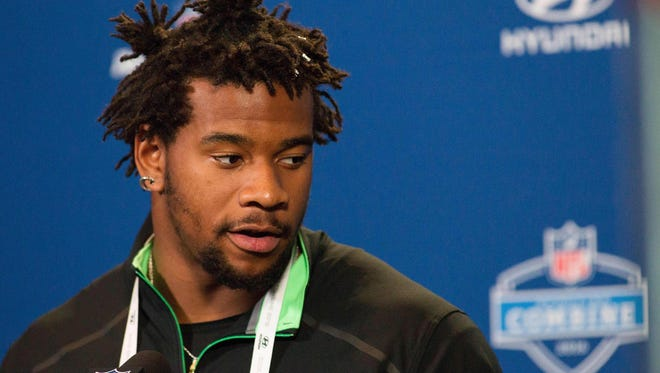 Mississippi defensive lineman Robert Nkemdiche speaks to the media at the NFL combine Friday.